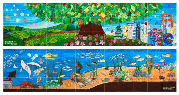 上段の作品は「緑あふれる都会のまち大阪」下段の作品は「未来に残したい美しい大阪湾」です