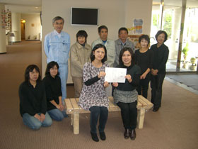 Photograph of staff members of Create Taiyo and the seminar house taken after the donation ceremony☆