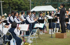 Brass band of the neighborhood junior high school